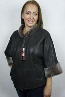 Brown 100% Sheepskin Shearling Leather Lambskin Jacket Coat 3/4 Sleeve XS-6XL