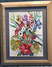Vintage Watercolor Gouache Floral Flower Still Life Painting