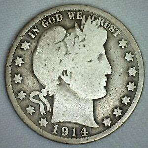 1914 US Half Dollar Silver Barber Half Dollar Good KJ8