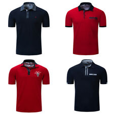 Men's Plain Polo Shirt Short Sleeve Embroidered Polo Shirt Solid Cotton T Shirt