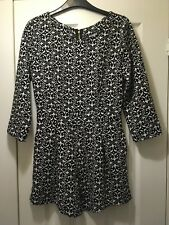 MISSGUIDED Black White Geometric Print 3/4 Sleeve Party Playsuit Size 10