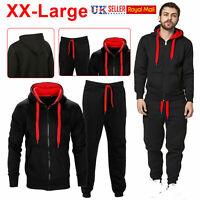 Mens Tracksuit Set Hoodie Top & Bottoms Joggers Gym Plain Zip Pockets Suits 2XL.