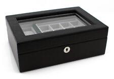 Heiden Executive Valet Box - Black Leather - OTS-HDBOX003-LEATHER