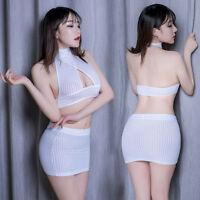 Sexy Lingerie Crop Top Mini Skirt Women See Through Clubwear Elastic Dress Set