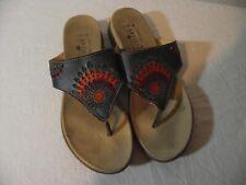 L'Artiste Spring Step Womens Size 39 Leather Thong Sandal Multicolor EUC