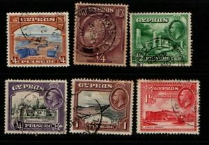 Cyprus 1928 1934 King George V selection to 1½ pi SG123, 133-37 Used