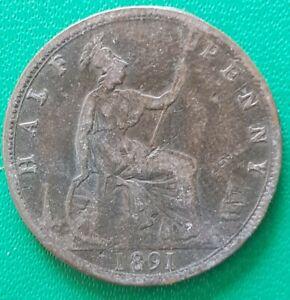 1891 Half Penny Victoria Coin