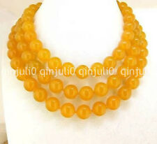 "10MM Natural South America Topaz Yellow Gems Ball Beads Necklaces 36"" JN712"