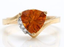 1.55 Carat Natural Madeira Citrine and Diamond 14K Solid Yellow Gold Ring