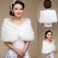 Bridal Faux Fur Coat Jacket Shawl Cape Wrap Bolero Scalf Shrug Cloak Super