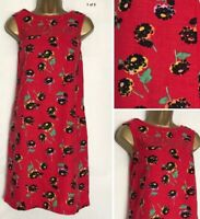 Next Red Poppy Print Linen Blend Pocket Tunic/Shift Dress Size 6 - 26  (n-68h)