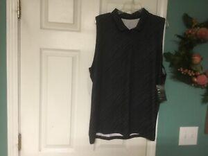 Nike Golf Dri Fit Sleeveless Polo Shirt Black White AJ5339 010 Size XXL (CON41)