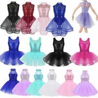 Girls Ballet Dance Sequins Dress Kids Skating Leotard Skirt Dance Wear Costume