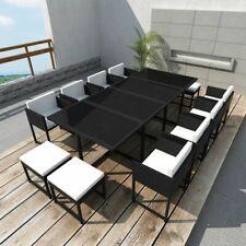 vidaXL Garden Dining Set 13 Pieces Poly Rattan Wicker Black Outdoor Furniture