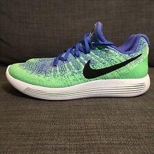 Nike Lunarepic Flyknit 2 Low Running Shoes Green/Blue 863780-401 Women's size 8