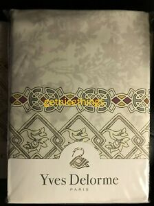 "New Yves Delorme Queen Palatin Duvet Cover 92x92"" 100% Cotton Sateen Reversible"