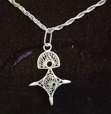 Collier en argent massif 925 pendentif croix agades RefM226