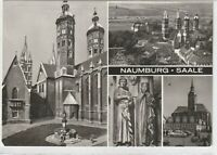 Ansichtskarte Naumburg - Dom/Uta/Ekkehard/Wenzelskiche am Markt - schwarz/weiß