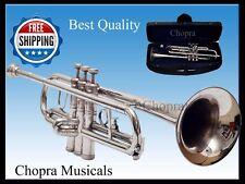 TRUMPET Chopra Musicals 3 Valve Bb PRO 100% Brass  M/P+ Bag+Ship Free