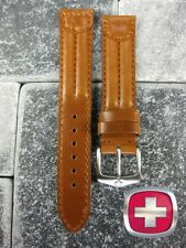 New 20mm Brown SWISS ARMY CAVALRY MILITARY Leather Strap Watch Band 20 X