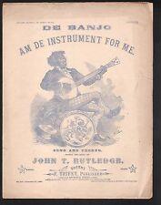 De Banjo Am De Instrument for Me 1877 Large Format Sheet Music