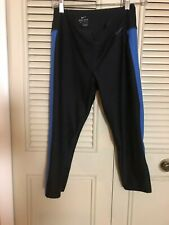 NWOT NIKE Women's Dri Fit Active Capri Leggings Black/Blue Workout Size Medium