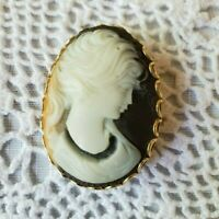 Cameo Hand Carved Shell Lady Black White Pin Brooch Vintage