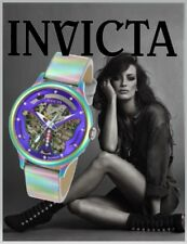 Invicta Women's Wildflower Automatic Iridescent S. Steel Leather Watch 24566