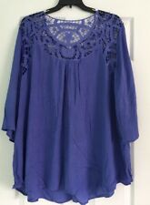 47e9cc89473 Roaman s Women s Plus Size 22W Purple Hollow Blouse Lacy Loose Summer Top  NWOT
