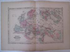 Hand Colored Map Rome Roman Empire Johnson's Atlas Gallia Germania Italy 1863