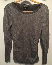 Banana Republic Holdiay Silver Metallic Sweater Italian Yarn Cashmere Euc