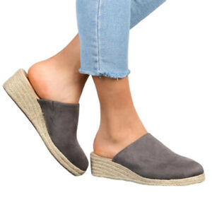 Womens Closed Toe Mule Pumps Wedges Sandals Slides Slip On Loafer Casual Shoes