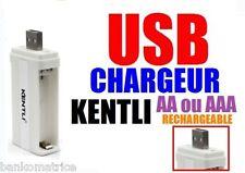 CHARGEUR USB POUR  AA ou AAA 1.5V RECHARGEABLE Li-ion KENTLI CHARGER USB