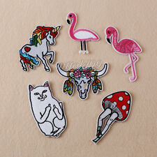 6Pcs Embroidery Flamingo Cat Sew Iron On Patch Badge Bag Clothes Fabric Applique