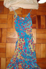 DVF Diane von Furstenberg silk mini asymmetrical hem dress yellow pink blue sz 8