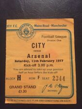 Ticket: Manchester City V Arsenal 12/02/1977