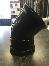 "4"" Black Soil Double Socket 45 Degree Bend Pushfit Waste 110mm Stack Vent Pipe D"