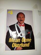 1990 Classic WCW WWE WWF Mean Gene Okerlund AUTO autograph HOF