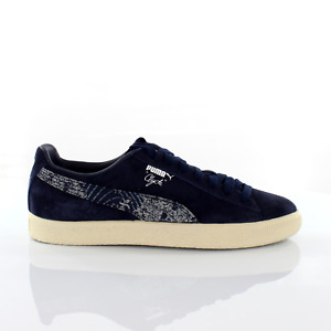 Puma Clyde Marine FM Navy Suede Leather Mens Trainers 364787 01
