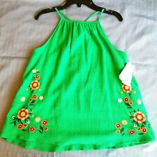 Girls Green Summer Blouse Tank Top by GB Girls Size US XL Floral Brand New Shirt
