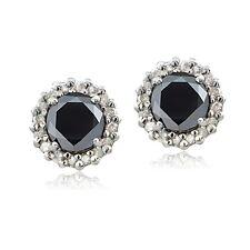 Sterling Silver 1.15ct TDW Black & White Diamond Halo Stud Earrings