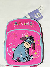 """NWT WINNIE THE POOH  SMALL DISNEY  CANVAS PINK EEYORE BACKPACK  9 1/2"""" X 7""""X 3"""""""