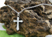 P1011 Ladies Stainless Steel Mother of Pearl Inlay Cross & 20'' Chain