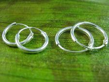 """2pairs"" -925 sterling silver small 10mm +12mm SLEEPERS HOOPS earrings - UNISEX"