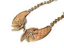 Bijou alliage doré collier feuillage et rotin tressé créateur Leritz necklace