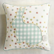 Pier 1 Throw Pillow Bunny Gingham Spring Yellow Pink Blue Rabbits Flowers New