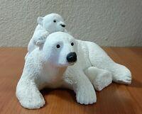 Vintage polar bear figurine mom & baby sandcast  HUFF & PUFF MARTY SCULPTURE INC