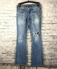 True Religion Women's Size 27 Joey Denim Jeans Flare Distressed Festival Boho