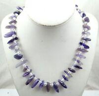 Natural amethyst & Crystal  Ladies Handmade Gemstone Jewellery Necklace K1
