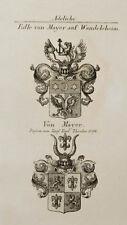 1847 Wappen Adelige Edle von Mayer auf Wandelsheim Kupfer Coat of Arms